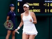 Was für ein Kampf: Belinda Bencic wehrte in Wimbledon vier Matchbälle ab und steht nun in der 3. Runde (Bild: KEYSTONE/EPA/NIC BOTHMA)