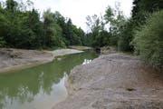 Die Thur im Gebiet Mühlau bei Bazenheid gestern Nachmittag: Niedriger Wasserstand bei tiefer Abflussgeschwindigkeit, obwohl es zuvor etwas geregnet hatte. Für eine Normalisierung der Situation braucht es etwa eine Woche mit ausgedehnten Dauerregenphasen. (Bilder: Hans Suter)