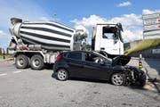 Das Unfallauto erlitt Totalschaden. (Bild: Luzener Polizei (Gettnai, 4. Juli 218))