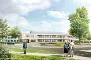 Die Visualisierung zeigt, wie der Neubau der Rehaklinik Zihlschlacht am südlichen Dorfrand aussehen wird. (Bild: PD)