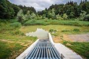 Der Rütiweier und sein neuer Durchlass: Pro Sekunde fliessen konstant zwei Kubikmeter Wasser durch. (Bild: Bilder: Urs Bucher)