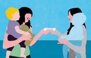 Die «Schattenmutter» wird entlöhnt. Schattenmütter nennt man Nannys aufgrund ihrer Rolle zwischen einer Angestellten und einer grossen emotionalen Bezugsperson. (Illustration: Patric Sandri)