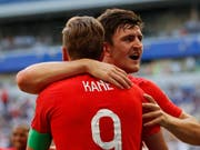 Der Torschützenleader und der englische Torschütze zum 1:0 gegen Schweden unter sich: Harry Kane und Harry Maguire (hinten) (Bild: KEYSTONE/AP/FRANCISCO SECO)