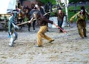 """Actionszene aus """"Winnetou II"""". (Bild: Romano Cuonz, Engelberg, 6. Juli, 2018)."""