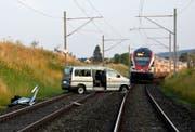 Ein Zug konnte gerade noch rechtzeitig angehalten werden. (Bild: Kantonspolizei St.Gallen)