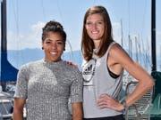Die Schweizer Hoffnungen am Meeting Spitzenleichtathletik Luzern ruhen auf Mujinga Kambundji (links) und Lea Sprunger (Bild: KEYSTONE/CHRISTIAN BRUN)