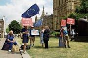 Britische EU-Anhänger demonstrieren vor dem Westminster-Palast nach wie vor hartnäckig gegen den Brexit.Bild: Matt Dunham/AP (London, 9. Juli 2018)
