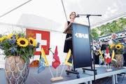 Die Festrede zum Bundesfeiertag in Baar hielt Gerda Schwindt, Personalleiterin der Glencore. (Bild: Werner Schelbert)
