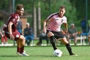 Der Luzerner Mittelfeldspieler Nicolas Haas (rechts) im Dress von Palermo. (Bild: Tullio M. Puglia/Getty (Belluno, 27. Juli 2018))
