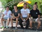 Die geehrten Sportler (von links): Tamara Menzi, Dorian Heierli, Pascal Heierli und Jan Scherrer (Bild: Sabine Schmid)