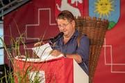 Der einheimische Schauspieler Hanspeter Müller-Drossaart hielt die Rede in Sarnen. (Bilder Izedin Arnautovic (Sarnen, 01. August 2018))