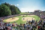 Am Sonntag zieht das Schwingfest zahlreiche Schwinger und noch viel mehr Publikum auf den Ricken. (Bild: Urs Bucher)