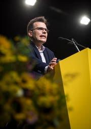 Dominik Diezi (CVP-Kantonsrat, Arbon) sprach an der Bundesfeier im Pentorama. (Bild: Reto Martin)