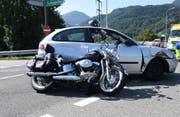 Die Autofahrerin hat das vortrittsberechtigte Motorrad nicht beachtet. (Bild: Kantonspolizei St.Gallen)