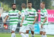 Die Rückkehr von Goalgetter Andi Qerfozi (Zweiter von rechts) ist für den FC Kreuzlingen ein Glücksfall. (Bild: Mario Gaccioli, Kreuzlingen, 4. August 2018)