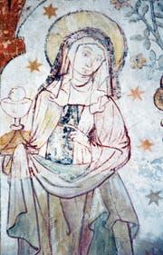 Eine der seltenen Darstellungen der hl. Klara von Assisi birgt die Schlosskapelle von Kyburg. Das Fresko stammt aus dem 15. Jahrhundert. (Bild: Andreas Faessler, Illnau-Effretikon, 8. August 2018)