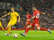 Danny Ings (in rot) 2015 im Europa-League-Spiel mit Liverpool gegen den FC Sion (Bild: KEYSTONE/AP/JON SUPER)
