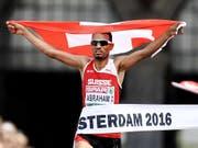 Wiederholt sich dieses Bild in Berlin? Tadesse Abraham läuft im Marathon am Sonntagmorgen um Gold. (Bild: KEYSTONE/EPA ANP/OLAF KRAAK)