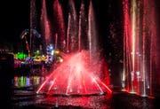 Die Wassershow im Kreuzlinger Hafenbecken vor der Skyline des Lunaparks. (Bilder: Andrea Stalder)