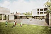 So soll die neue Schulanlage Sonnenrain in Wittenbach dereinst aussehen. Nebst einem Primarschulhaus und einem Kindergarten entsteht auch eine Dreifachturnhalle und eine Aula. (Visualisierung: PD)