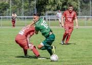 Ajet Sejdija (in Grün) und die U21 des FC St. Gallen sind mit einem Sieg in die 1. Liga gestartet. (Bild: Hanspeter Schiess)