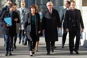 Bundesrätin Doris Leuthard traf sich im November zu Gesprächen mit EU-Kommissionspräsident Jean-Claude Juncker. (Bild: Peter Klaunzer/KEY (Bern, 23. November 2017))