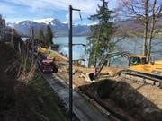 In Sachseln wurden Vorarbeiten für die künftige Stollen-Zufahrt entlang der Zentralbahn vorgenommen. (Bild: PD)