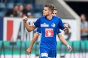Pascal Schürpf feiert das 2:1 gegen den FC Lugano. (Bild: KEYSTONE/Urs Flüeler (Luzern, 4. August 2018))