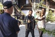 """Leonard und Sabrina Sauder bei den Dreharbeiten für das Musikvideo zur Single """"Vielleicht"""". (Bild: PD)"""