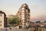 Projekt «Luegisland» am Bundesplatz: Blick von den Geleisen auf Gebäude (Mitte), Grünanlage und Wohn- und Geschäftshaus (von Süden her). (Bild: Visualisierung HRS Real Estate AG / Nightnurse Images)