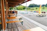 Das Restaurant Sporttreff auf der Sportanlage Kellen in Tübach. (Bild: Rudolf Hirtl, Juli 2018)