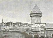 Kühner Vorschlag: die Kapellbrücke in Glas. (Skizze: Abächerli Architektur AG (1993))