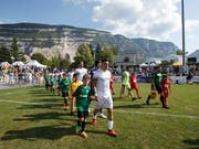 The players of the FC Thun step into the cup to action - and do the duty sovereignly (Photo: KEYSTONE / SALVATORE DI NOLFI)