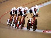 Der Schweizer Bahnrad-Vierer überzeugte in der Qualifikation zur Team-Verfolgung (Bild: KEYSTONE/AP PA/JOHN WALTON)