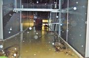 Über den Steinachdammweg ergossen sich die Fluten auf Firmengelände der Variosystems und setzten die Lagerräume unter Wasser. (Bild: Max Eichenberger)