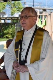 Pfarrer Notker Bärtsch verlässt die Pfarreien Flüelen und Sisikon nach neun Jahren. Am 1. August wurde er im Rudenzpark in Flüelen offiziell verabschiedet. (Bld: Georg Epp, Flüelen, 1. August 2018)