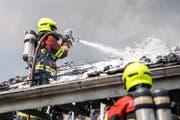 Wohnhausbrand im Gebiet Sagenmatt in Sursee in der Nähe des Schulhauses Neufeld. (Bild: Pius Amrein (Sursee, 20.August 2018))