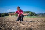 Landwirt Jürg Rasi kämpft gegen ein Tiefenlager im Weinland. Im Hintergrund sein Hof. (TAGBLATT/Benjamin Manser)