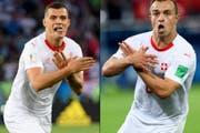 Granit Xhaka (links) und Xherdan Shaqiri nach ihren Toren gegen Serbien.
