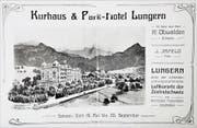 Das Titelbild des wohl ersten Prospektes vom «Kurhaus & Park Hotel Lungern». (Bild: Romano Cuonz (Lungern, 4. August 2018))