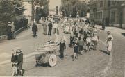 Das Modellschiff «Stadt Zug» am Jugendfestumzug 1934. (Bild: PD)