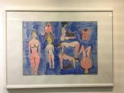 Das Thema «Body and Soul» reicht von lustvoller Körperhaftigkeit bis hin zu beklemmender Sexualität. Dieses comic-artige Bild hat Peter Zahnd gemalt. (Bild: Silvia Minder Keystone-SDA)