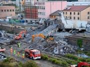 Die Autobahnbrücke in Genua war am 14. August nach einem heftigen Gewitter eingestürzt. 43 Menschen starben. (Bild: KEYSTONE/AP ANSA/LUCA ZENNARO)