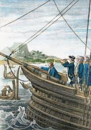 James Cooks «Endeavour» erreicht Tahiti am 13. April 1769 (Stahlstich von Carl Mayer, um 1845). (Bild: Keystone)
