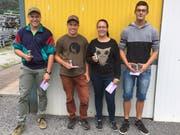 Das Siegerteam aus Spiringen (von links): Silvan Gisler, Ivan Gisler, Stefanie Arnold und Fabio Schuler. (Bild: Paul Gwerder (Amsteg, 25. August 2018))