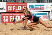 Eingespieltes Team: Mara Betschart (vorn) und Céline Baumann auf ihrem Weg zum nächsten Meistertitel. (Bild: Adrian Knecht/chef.li)