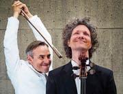 Das Cello-Comedy-Duo Calva tritt im Schloss Dottenwil auf. (Bild: PD)