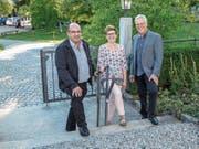 Die Kirchenpräsidenten Rolf Zimmermann, Angelika Schweizer und Hans Bodenmann zeigen sich nach der Versammlung in der Kirche Braunau zufrieden. (Bild: Roman Salzmann)