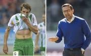 Schwierige Zusammenarbeit: Ex-FCSG-Flügel Geoffrey Tréand (links) und sein damaliger Trainer Joe Zinnbauer (Bilder: Freshfocus/Keystone)