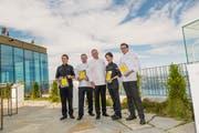 Die ausgezeichneten Köche (von links): Firas El-Borji, Bertrand Charles, Chatsorn Pratoomma und Andreas Haseloh. (Bild: Roger Grütter (Bürgenstock, 27. August 2018)